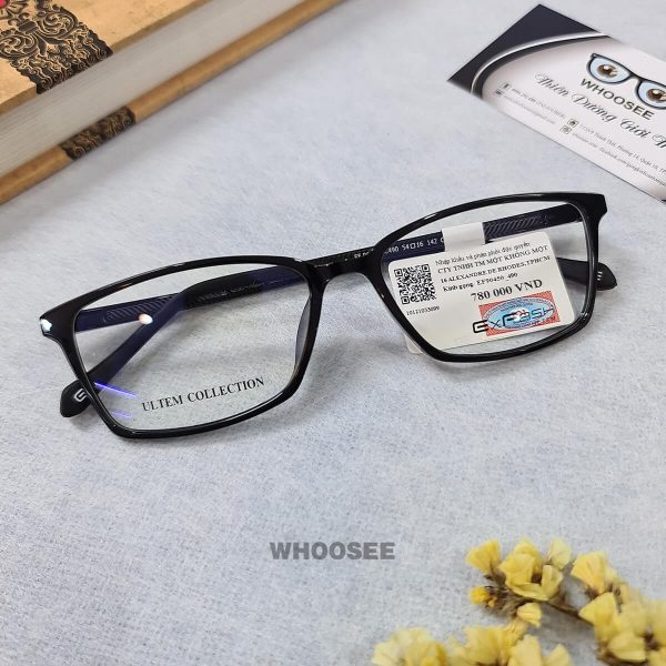 gọng kính cận form mắt vuông màu đen bóng ef90450 c490 exfash