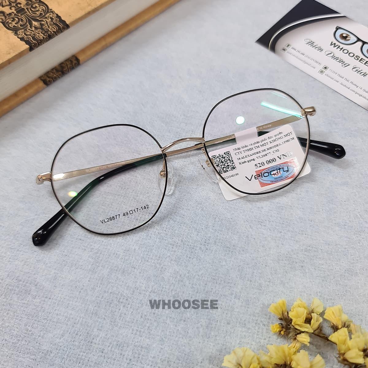 gọng kính cận kim loại màu đen trắng cho nữ vl26877 c02 velocity