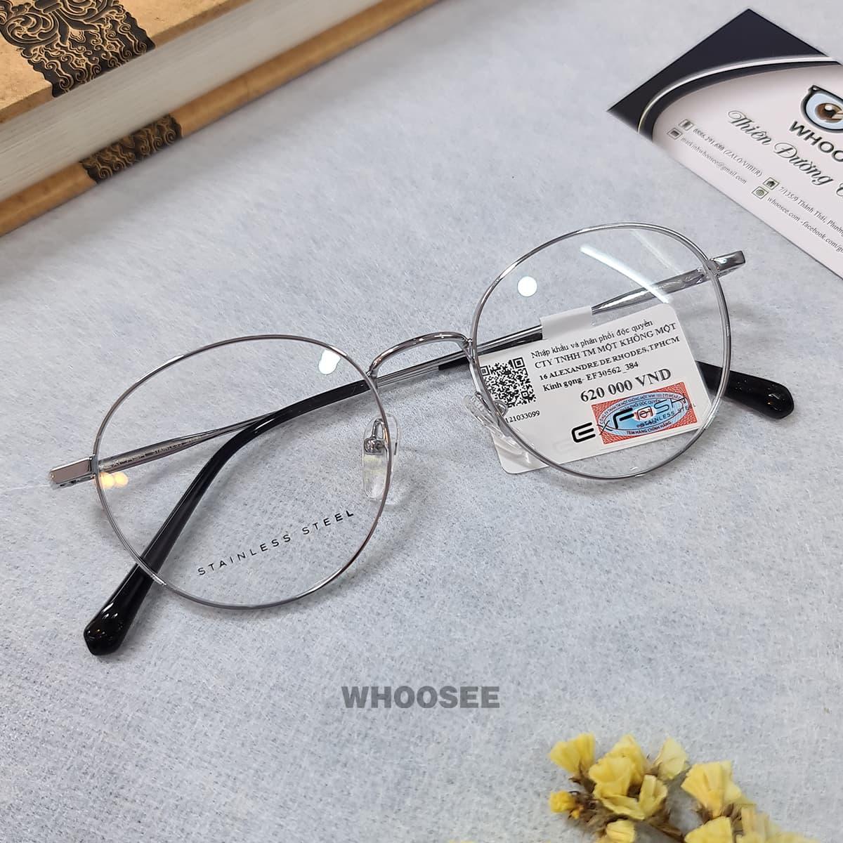 gọng kính cận kim loại màu trắng bạc ef30562 384 exfash