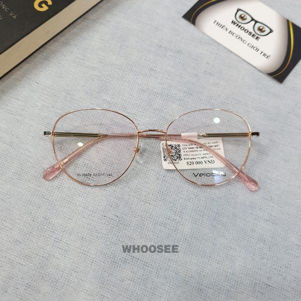 Gọng kính cận kim loại nữ tròn bầu màu vàng hồng VL26876 C03 Velocity