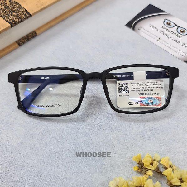 gọng kính cận nhựa dẻo hình vuông màu xanh đen ef68472 c026 exfash