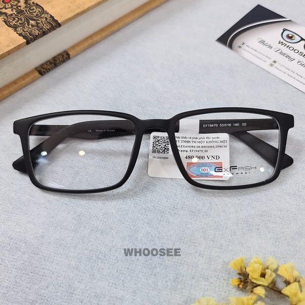 gọng kính cận nhựa dẻo mắt vuông cho nam nữ ef19470 c02 exfash