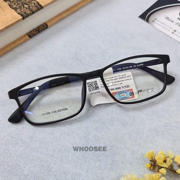 gọng kính cận nhựa dẻo màu đen cho nam nữ ef60411 c026 exfash
