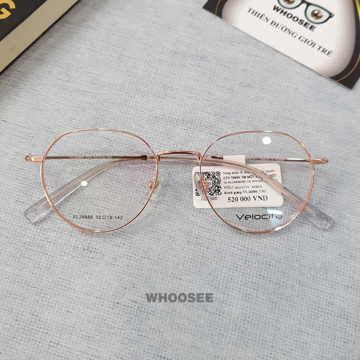 Gọng kính cận nữ kim loại tròn lục giác vàng hồng VL26886 Velocity