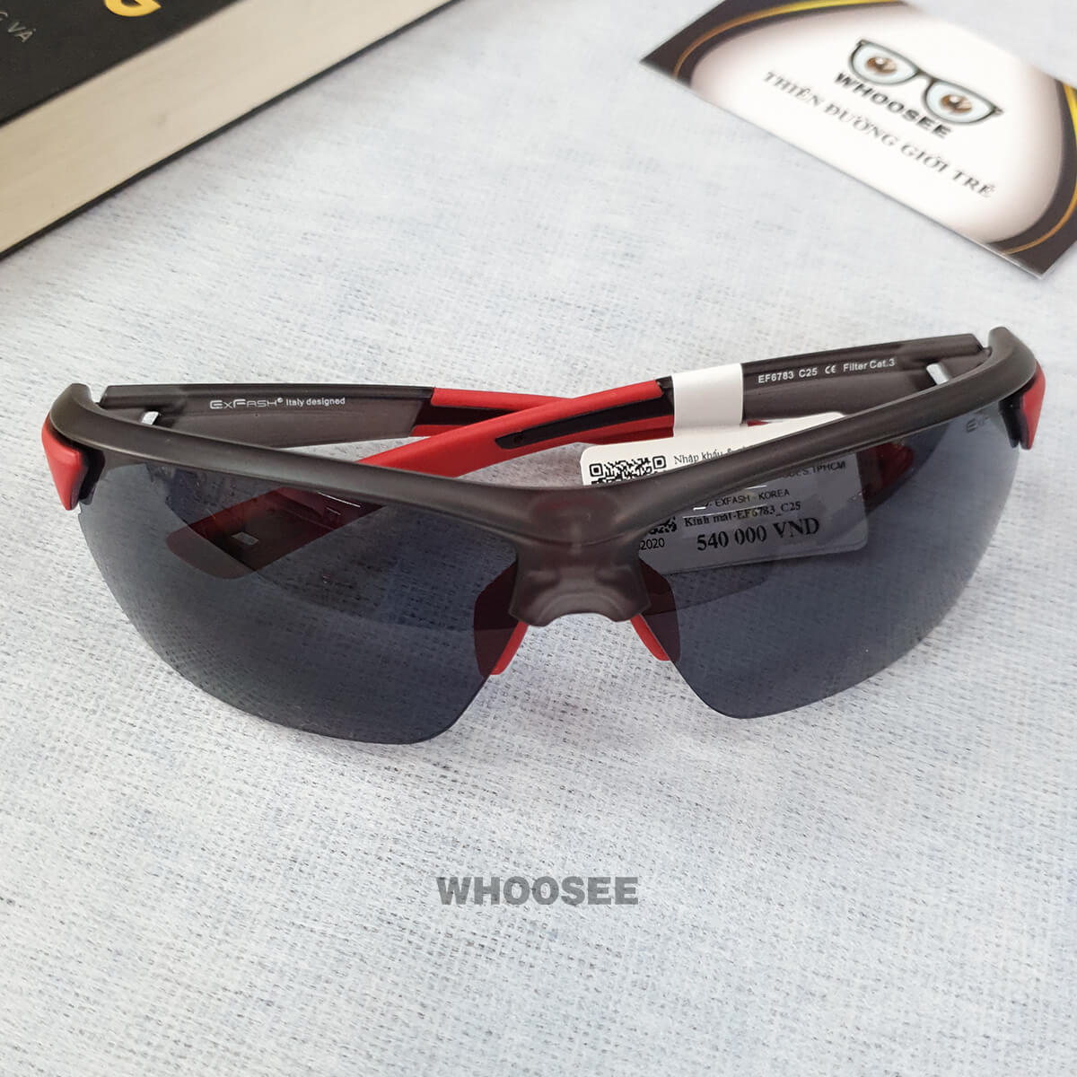 Kính Mát Thể Thao Nam Màu đen Nhám đỏ Bằng Nhựa Ef6783 C25 Exfash