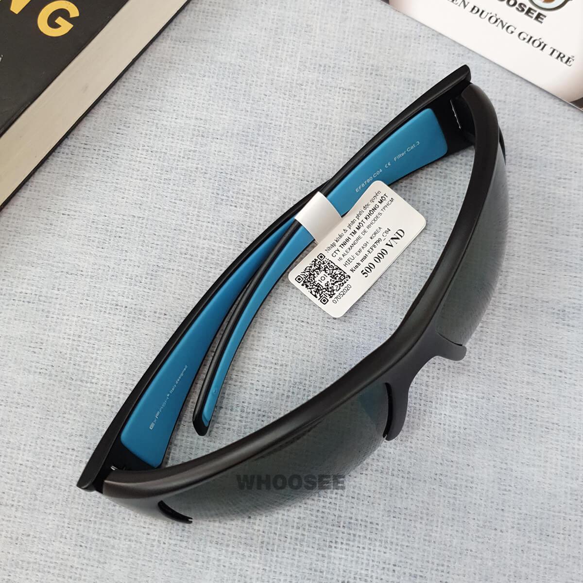 kính mát thể thao nam màu đen nhám xanh ef8790 c04 exfash