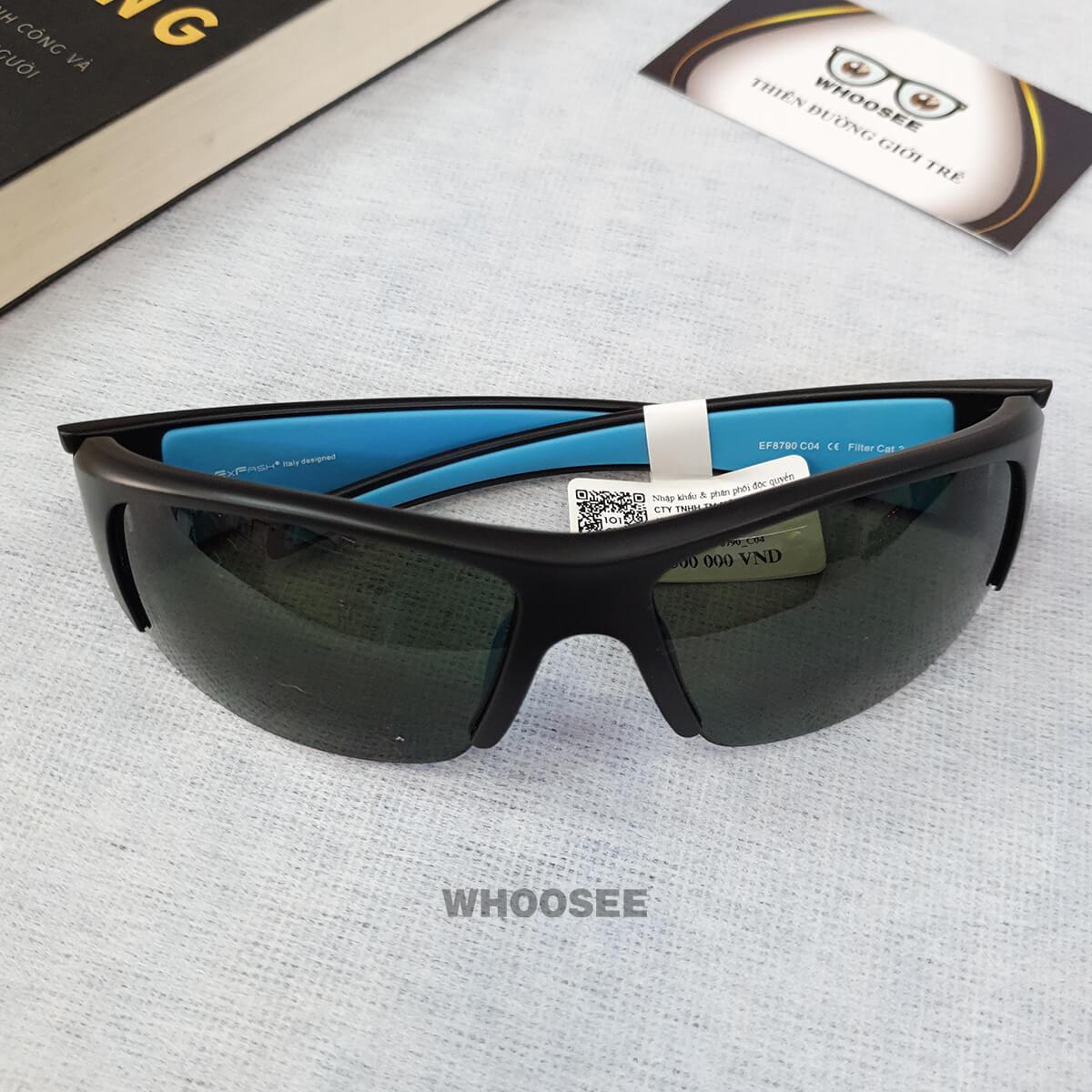kính mát thể thao nam màu đen nhám xanh bằng nhựa ef8790 c04 exfash