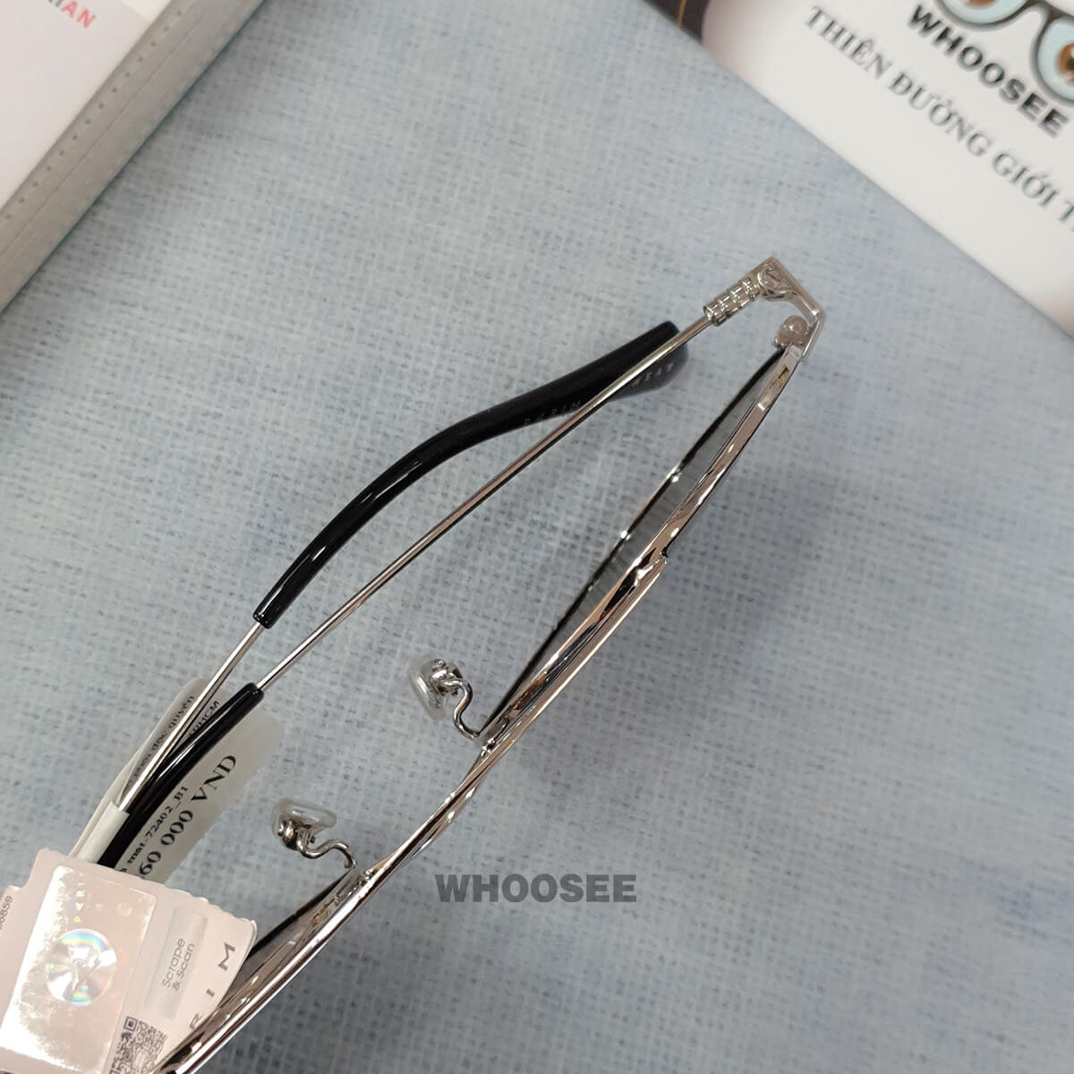 kính mát thời trang màu đen trắng bạc pr72402 b1 parim