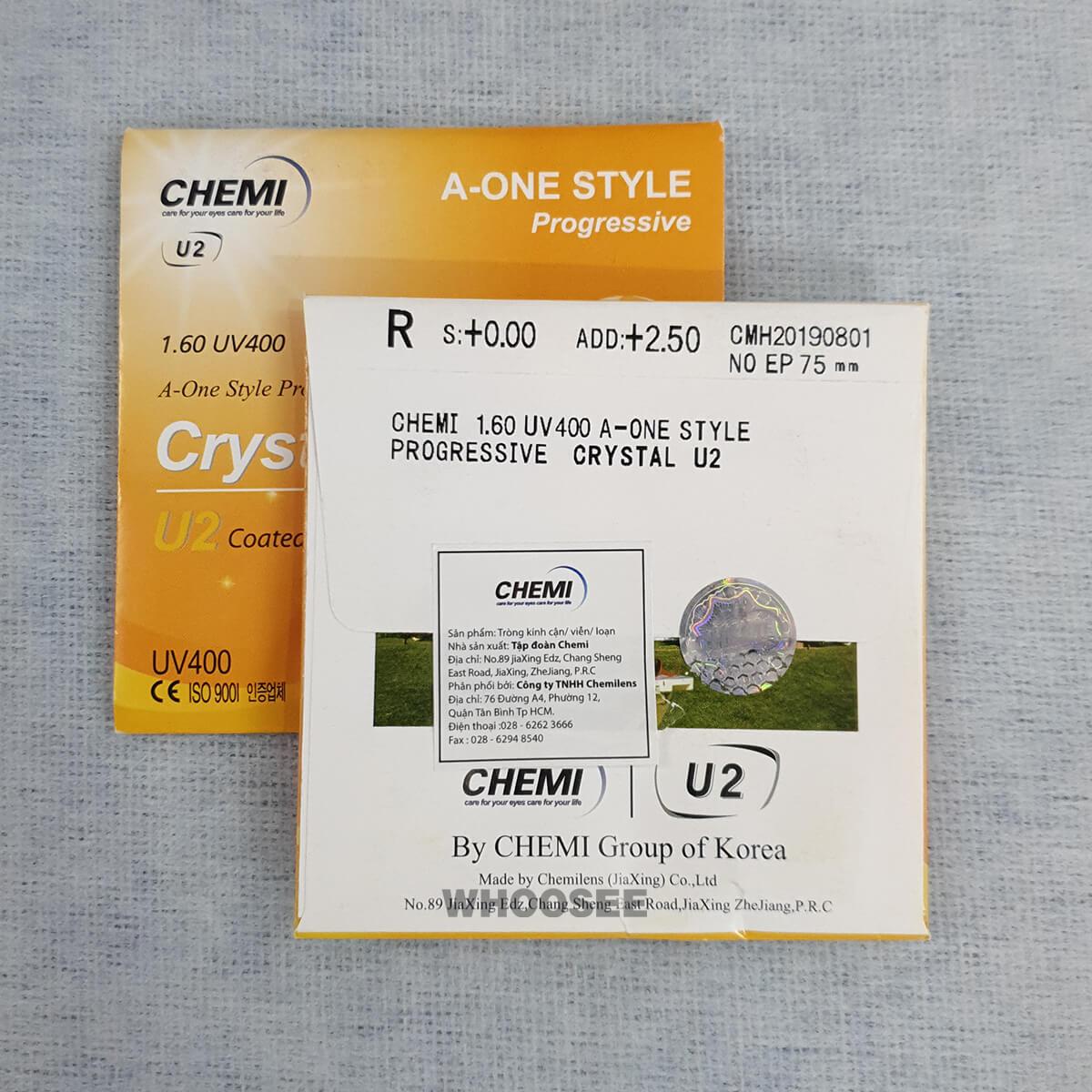 Tròng Kính Chemi Crystal U2 Coated Lens 1 60