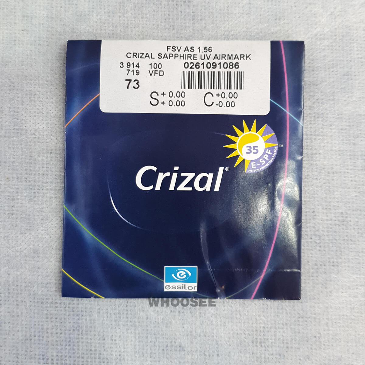 Tròng Kính Crizal Sapphire Uv Airmark 156