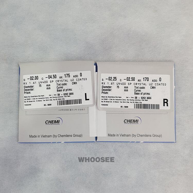 Tròng Kính Cận Chemi Single Vision Rx Lens 1.61 Cho độ Cận Cao
